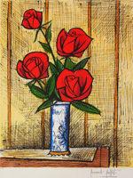ベルナール・ビュッフェ「4本の赤いバラ」版画65×48.8cm