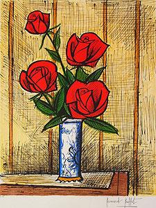 ベルナール・ビュッフェ「4本の赤いバラ」版画