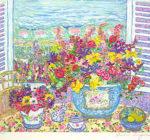 レスリー・セイヤー「フレグランスブーケ」版画40.5×46.5cm