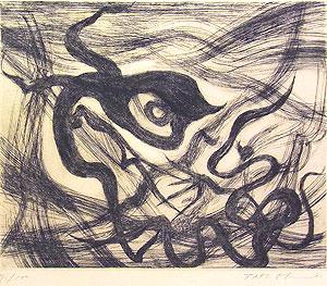 岡本太郎「風神」銅版画