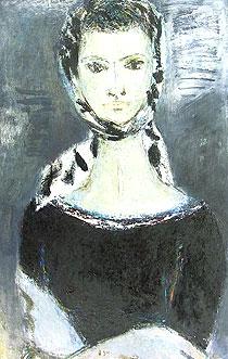 荻太郎「婦人像」油彩