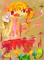 ロッカクアヤコ「アイスクリーム」アクリル80.5×55cm