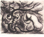 岡本太郎「石と樹」銅版画27.5×35.5cm