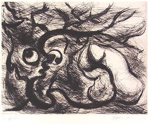 岡本太郎「石と樹」銅版画