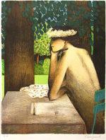 カシニョール「庭の手紙」版画56×42cm