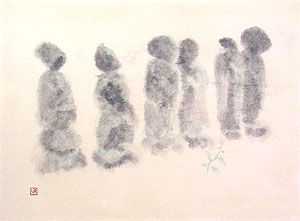 斎藤清「慈愛」水彩画