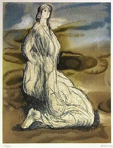 ヘンリー・ムーア「ひざまずく女性」版画