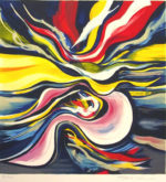 岡本太郎「流れる夢」版画40.5×39cm
