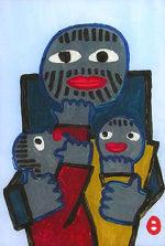 畦地梅太郎「親と子」ガラス絵20.5×14.8cm