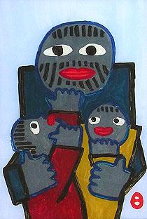 畦地梅太郎「親と子」ガラス絵