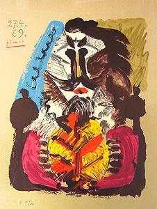 パブロ・ピカソ「想像の中の肖像27.4.69」版画