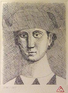 有元利夫「1987年展覧会ポスター」銅版画