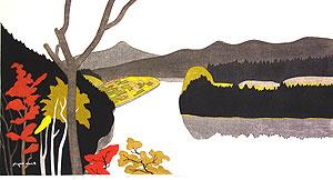 斎藤清「秋の只見川 下椿(A)」木版画