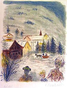 テレスコビッチ「ソリ遊び」版画