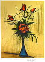 ベルナール・ビュッフェ「青い花瓶のバラ」版画67.1×52cm