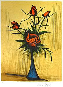 ベルナール・ビュッフェ「青い花瓶のバラ」版画