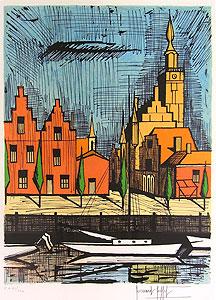 ベルナール・ビュッフェ「フェーレ市庁舎」版画