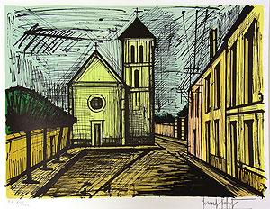 ベルナール・ビュッフェ「ヴェリエール教会」版画