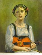 奥龍之介「ヴァイオリンの少女」版画48×37.7cm