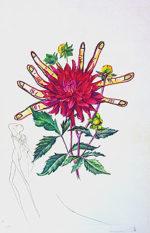 サルバドール・ダリ「ダリアと手」版画55.5×40.5cm