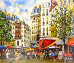 関拓司「市の立つ広場」油彩10号