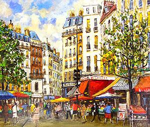 関拓司「市の立つ広場」油彩