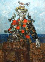 ポール・アイズピリ「鳥と人物」油彩60号