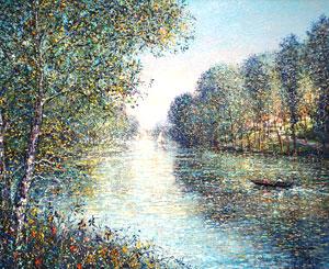 ギィ・デサップ「川の曲がり」油彩
