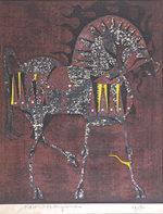 中山正「馬」木版画73×59cm