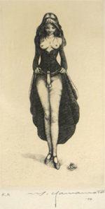 山本六三「ヘルマフロディトゥス」銅版画10×5.6cm