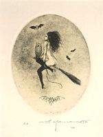 山本六三「魔女」銅版画8.7×6.8cm
