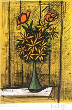 ビュッフェ「2本のバラとマーガレットの花束」版画64×47cm