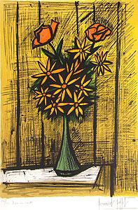 ベルナール・ビュッフェ「2本のバラとマーガレットの花束」版画