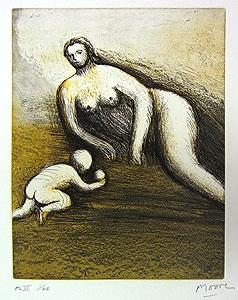 ヘンリー・ムーア「母と子よりPL.6」銅版画
