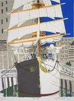 柳原良平「船首」版画43×33cm