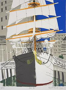 柳原良平「船首」版画