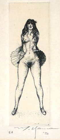 山本六三「死者より:前向き」銅版画
