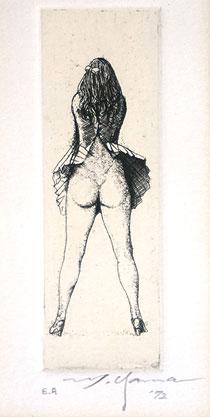 山本六三「死者より:後向き」銅版画