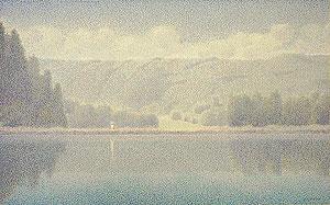 山田嘉彦「山湖」油彩