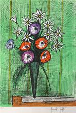 ビュッフェ「アネモネとマーガレット」版画66×47cm