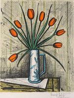 ビュッフェ「チューリップの花束」版画65×50cm