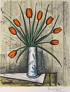 ベルナール・ビュッフェ「チューリップの花束」版画