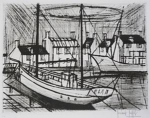 ベルナール・ビュッフェ「エランの船」銅版画