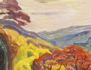 辻永「箱根の秋」油彩
