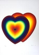 靉嘔「Hearts」版画43.3×47.3cm