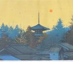 千住博「法輪寺朝景」版画50×60cm