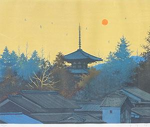 千住博「法輪寺朝景」版画