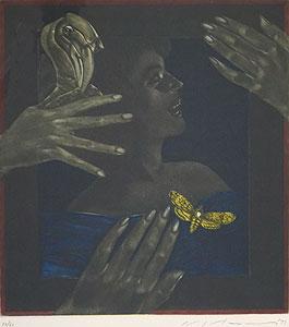 池田満寿夫「嫉妬の罪」銅版画