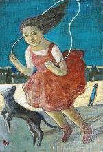 遠藤彰子「縄跳び」油彩22.7×15.8cm
