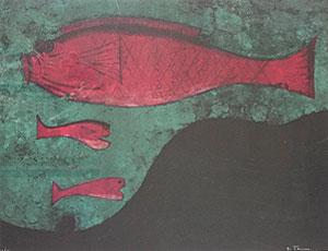 ルフィーノ・タマヨ「魚」版画